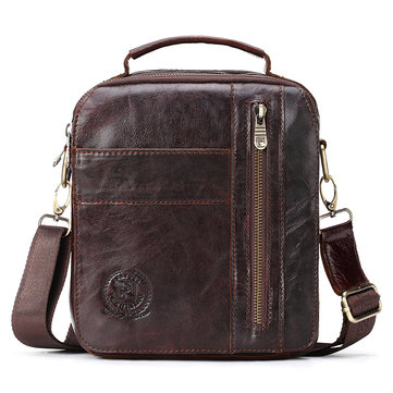 FUZHINIAO Men Shoulder Bag Genuine Leather Messenger Bag Famous Brand Business Crossbody Bag