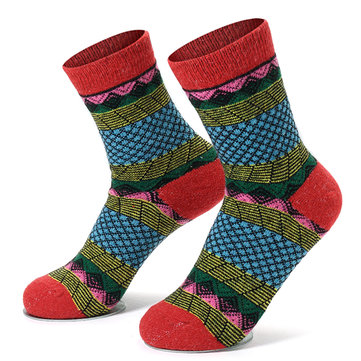 Women Vintage Red Cotton Blend Warm Socks