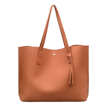 Women Leisure Pure Color PU Tote Bag Handbag