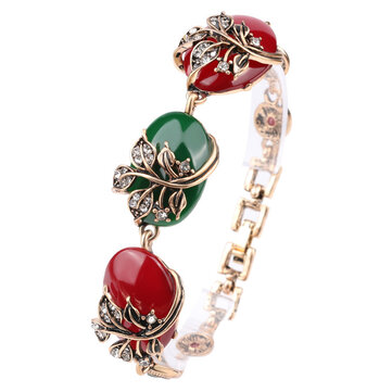 Ethnic Ruby Resin Bracelet Retro Red Green Crystal Emerald Resin Pure Ancient Gold Ladies Bracelets