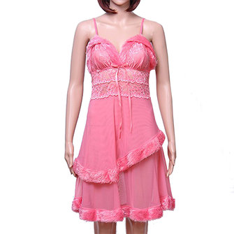 Women Sexy Deep V Mesh Nightdress Lace Hollow Out Plush Hem Sleepwear