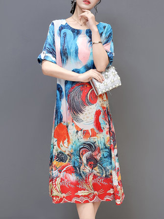 Silk Round Neck Printed Short-Sleeved Dress
