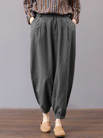 Women High Waisted Striped Stretch Bottom Harem Pants