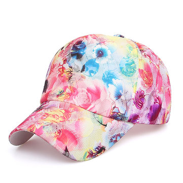 Women Summer Flower Cloth Lace Baseball Cap