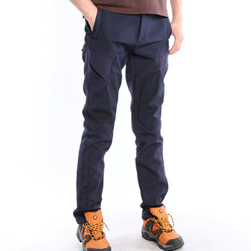 Outdoor Sports Soft Shell Pants Mens Breathable Windproof Waterproof Antifouling Thick Pants