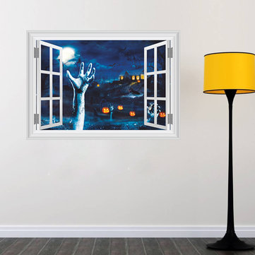 Halloween 3D Horrible Blood Hand Pumpkin Window Sticker Bedroom Living Room Haunted House Decor Wall Stickers