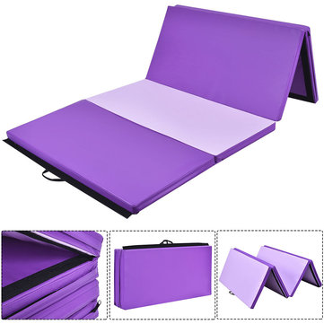 6FT Folding Gymnastics Mat Yoga Exercise Fitness Pilates Gym Tumble Floor Pad Purple