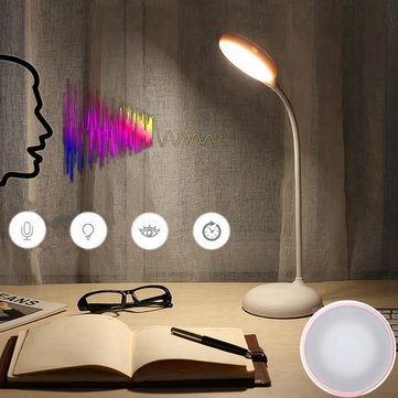 Rechargeable Dimmable LED Table Light Off-line Voice/Touch Control Desk Read Lamp White/Warm White
