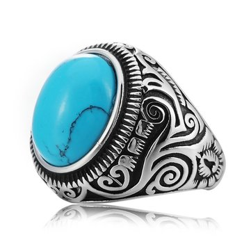 REZEX Vintage Pattern Blue Black Turquoise Finger Rings Gem Titanium Steel Men's Ring
