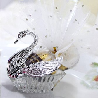 Swan Shape Silver Transparent Plastic Candy Boxes Gift Package Wedding Party Supply
