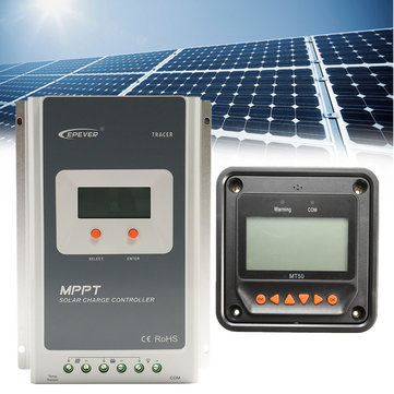 EPEVER MT50 Remote Meter + MPPT 12/24V 30A LCD Solar Charge Controller Regulator