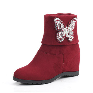 Multi-Way Butterfly Beaded Folded Heel Increasing Ankle Boots