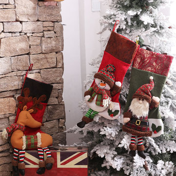 Christmas Socks Gift Bag Christmas Tree Ornaments Santa Claus Snowman Elk Wishing Bag
