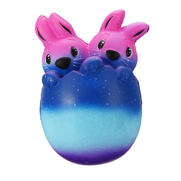 Jumbo Squishy 15cm Cute Easter Egg Rabbit Scented Slow Rising Squeeze Gift Toy Galaxy Colour