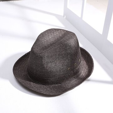 Mens Vintage Cotton Linen Crimping Jazz Hat
