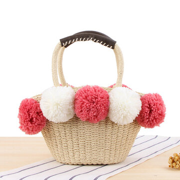 Women Travel Woven Beach Bag Cute Contrast Plush Ball Straw Handbag