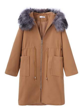 Women Long Sleeve Drawstring Waist Faux Fur Collar Hooded Woolen Coat