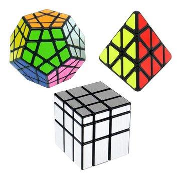 매직 큐브 3 스피드 큐브 콘 세트 Megaminx 실버 미러 매직 퍼즐