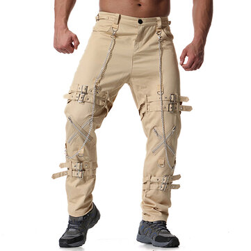 Mens Casual Personalized Iron Chain Zipper Cargo Pants