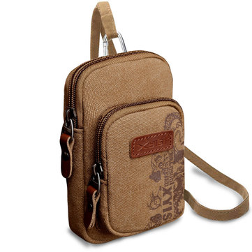 6inch Men Mobile Phone Canvas Crossbody Bag Small Multifunctional Belt Waist Bag