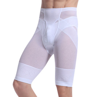 Mens Thin High Rise Elastic Fat Burning Tight Tummy Tuck Hip Lifting Knee Length Boxers