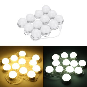 12pcs LED Vanity Makeup Dressing Remote Control Mirror Light Bulbs Hollywood Style