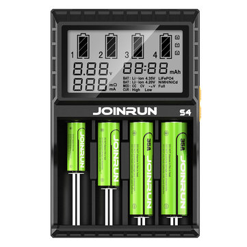 JoinRun S4 4Slots EU Plug LCD Display Automatic Rapid Intelligent Li-ion/NI-MH/NI-CD Battery Charger