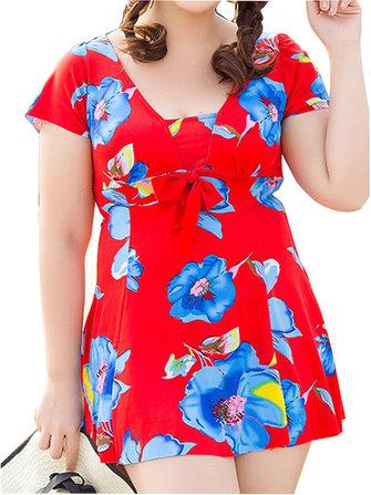 Women Comfortable Floral Printing Wireless U Shape Back Short Sleeves Swimdresses