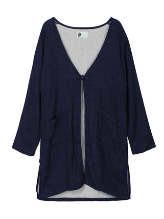 Women Vintage Long Sleeve Loose Cotton Cardigan Jacket