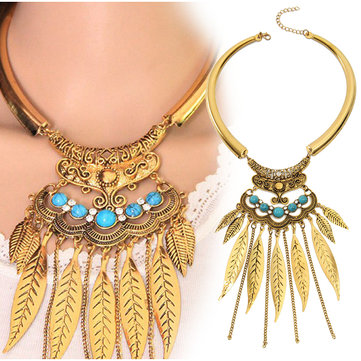 Smooth Turquoise Tassel Chain Metal Collar Bib Leaves Clavicle Necklace For Women