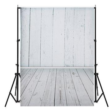 3x5ft White Wood Floor Theme Photography Vinyl Background Backdrop for Studio 0.9x1.6m