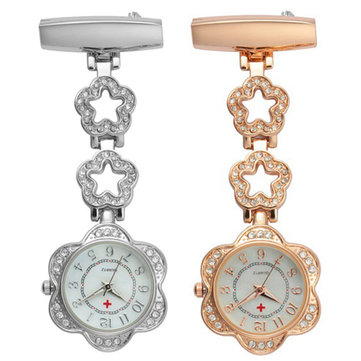 Crystal Flower Dial Doctor Nurse Watch Clip-on Stainless Steel Pocket Watches