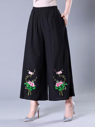 Vintage Women Plus Size Embroidered Wide Leg Pants