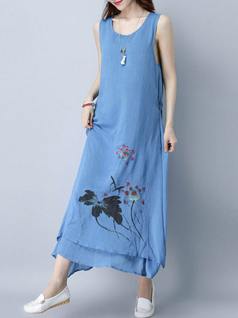 Lotus Printed Sleeveless O-Neck Layered Hem Dress For Women