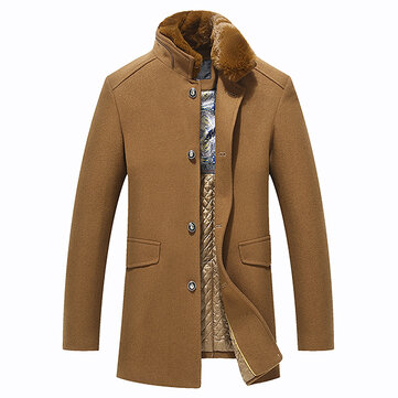 Woolen Overcoat Detachable Fleece Collar Stylish Slim Jacket