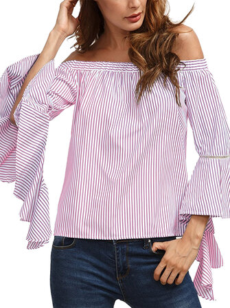 Off Shoulder Stripe Flared Sleeve Blouse