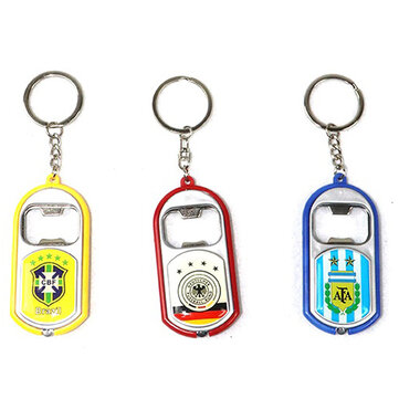 2018 World Football Cup Souvenir National Team Bottle Opener Keychain Plastic LED Light