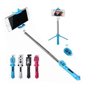 bluetooth 3 in 1 Selfie Stick + Tripod + Shutter Wireless Self Timer Monopod For Mobile Phone