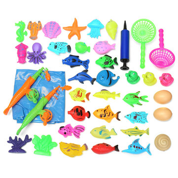 39pcs/Set New Fish Inflated Pond Game Magnetic Fishing Pole Rod 3D Fish Model Baby Bath Toys