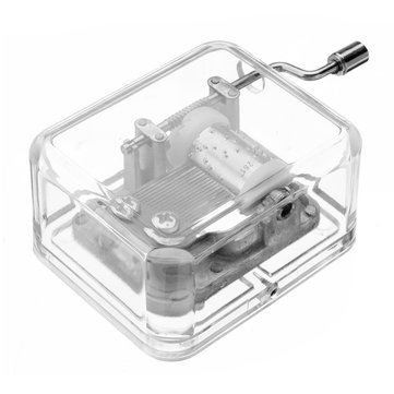 Mrosaa Hand-cranking Mini Transparent Acrylic Music Box Birthday Gift