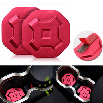 2pcs Red Aluminum Car Water Cup Holder Pad Trims For Jeep Renegade 2015-2016