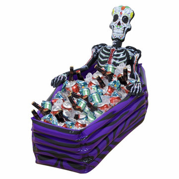 KCASA Skull Inflatable Cooler Skeleton Drink Ice Bucket Halloween Party Supply Christmas Decoration Toys Outdoor Tableware Halloween Bar Supplies