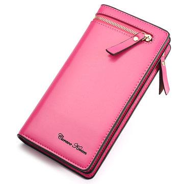 أنيق بو الجلود متعددة فتحات طويلة محافظ بطاقة حامل محفظة للنساء