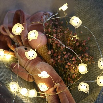 LUSTREON Battery Powered 2M 20LED Cat Fairy String Light Christmas Wedding Party Home Decoration