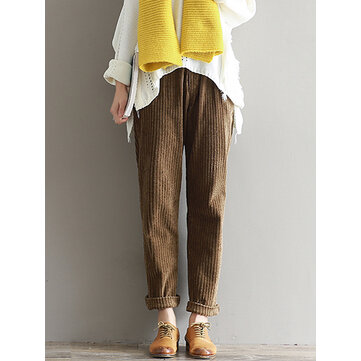 Casual Solid Color Elastic Waist Corduroy Pants for Women