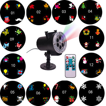 LED Stage Light Waterproof Projection Lamp Outdoors Projector 12Card Remote Control Light