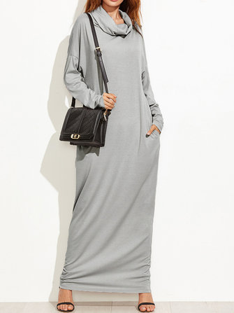 Casual Women Oversized Dress High Neck Winter Fall Solid Maxi Sweatshirt Dress