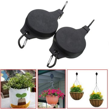 KCASA 2pcs Creative Easy Reach Retract Plant Pulley Extender Retractable Adjustable Hanging Hook Plastic Holder Pull Down Plant Pot Hooks Planter Chain Hanger Garden Plant Pot Telescopic Hooks