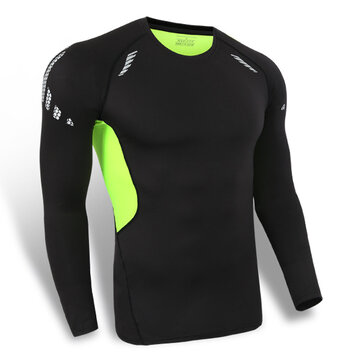 Mens Tight Breathable Wicking Quick Drying Stretch Long Sleeves T-shirt Sports Traning Tees