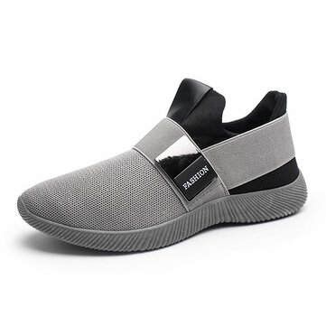 Men Casual Fabric Elastic Slip On Athletic Sneaker Sport Shoes